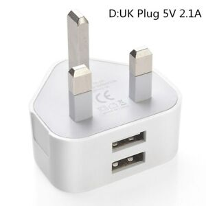 10pcs UK Mains Plug Dual 2 Ports USB Fast Charger 5V 2.1A Adapter for iPhone lot