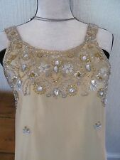 handmade gold bead and sequin party dress size 10