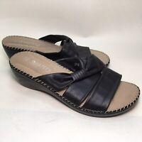 Smartty Women's Sz 6.5 Sandals Black Wedge Heel Slip On Shoes