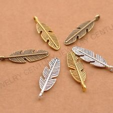 10/30Pcs Tibetan Silver Feather Leaves Charm Pensant for Bracelet NecklaceCA3077