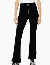 Ex Topshop Petite Black Corduroy Front Zip Fit Flare Trouser Size 6 - 14 RRP £29