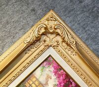 "4.5"" WIDE Antique Premium Gold Leaf Ornate Oil Painting Wood Picture Frame 780GL"