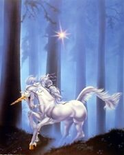 Mythical Unicorn Forest Path Fantasy Wall Decor Art Print Poster (16x20)