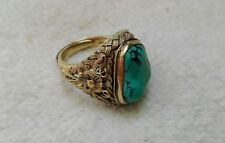 old antique chinese silver pl. gold natural turquoise
