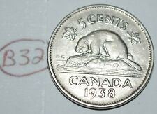 Canada 1938 5 Cents George VI Canadian Nickel Lot #B32