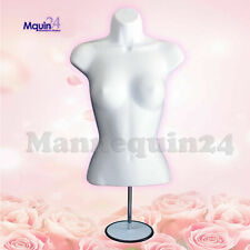 Female Torso Body Dress Form Mannequin White with Stand & Hook for Hanging