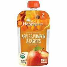 NEW Happy Baby Clearly Crafted Organic Baby Food Apple Pumpkin and Carrots 4 oz