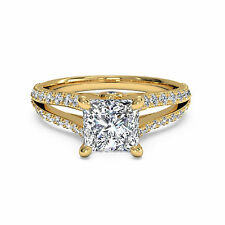 1.05Ct Diamond Engagement Rings Fine 14kt Yellow Gold Princess Cut Ring Size N M