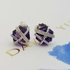 David Yurman Sterling Silver 10mm Amethyst & Diamond Cable Wrap Stud Earrings