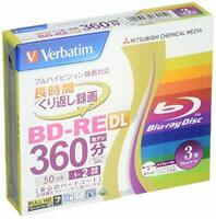 3 Disc Verbatim Blu ray 50gb 2x Blank Rewritable Bluray BD-RE DL repack w/Trac