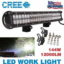 23Inch144W Cree Led Work Light Bar Flood Spot OFFROAD 4WD UTE Boat Atv Truck US