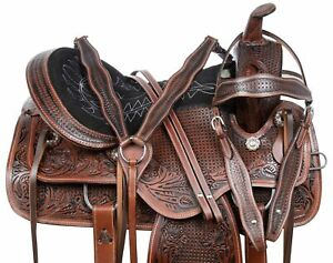 HORSE SADDLE WESTERN PLEASURE TRAIL BARREL RACING LEATHER ANTIQUE TACK 16 17 18