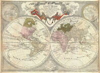 Vintage print art old world map canvas maps painting poster