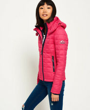 New Womens Superdry Hooded Box Quilt Fuji Jacket Sport Code Pink