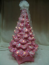 """FABULOUS REFURBISHED 20"""" SHABBY CHICK PINK SPARKLY CERAMIC CHRISTMAS TREE"""