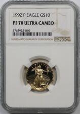 1992-P Gold Eagle Quarter-Ounce $10 PF 70 Ultra Cameo NGC 1/4 oz Fine Gold