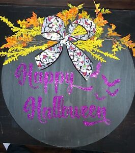 "Hand Crafted American Made Custom Wood Halloween Sign 18"" round"