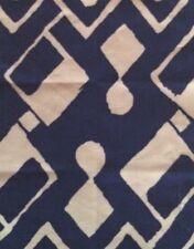 ALAN CAMPBELL QUADRILLE Sahara II Geometric Navy White Linen Cotton Remnant New