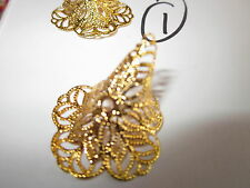 20 Gold - Fancy Filigree flower bead caps/charms