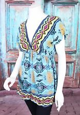ModCloth Medium M Angie Blue Boho Aztec Tribal Rayon Babydoll Tunic Top Festival