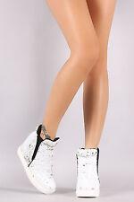 Womens Fashion Sneaker Ankle Booties Sequin High Top Hidden Wedge Platform Heel