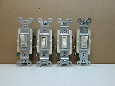 Lot of 4 Pass & Seymour 663-LAGU 3-Way Toggle Switches 15A 120V Light Almond