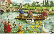 Racey Helps - Fun on the River - MEDICI POSTCARDS