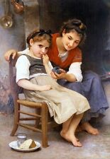 The Little Sulk by William Bouguereau Tela o Giclée Immagine Poster Stampa NUOVO