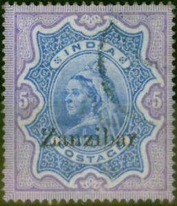 Zanzibar 1895 5R Ultramarine & Violet SG21 Fine Used