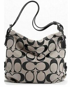 New With Tags COACH 15067 24CM SIGNATURE DUFFLE TOP ZIP Crossbody Black / White