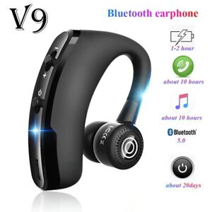 V9 Headphone Earphone Bluetooth Wireless Earbud HD Mic For Driver Sport