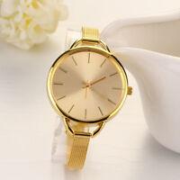 Luxus Edelstahl Damenuhr Gold Slim Band Analog Quartz Mode Armband Uhren Watch