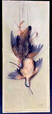EXQUISITE ANTIQUE ORIGINAL ART SIGNED RARE PASTEL BIRD PAINTING BY SAMUEL EGBERT