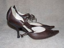 Giorgio Armani Brown Leather VICTORIAN Ox Pump Heels 37/7 Used