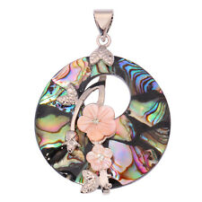 18K White Gold Filled Natural Abalone Shell Zircon Women Jewelry Pendant FD726