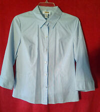 Talbots Light Blue Shirt Blouse 3/4 Sleeves Button Front Size 8