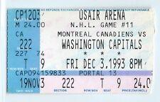 Montreal Canadiens at Capitals ticket stub 12/3/1993; John LeClair goal