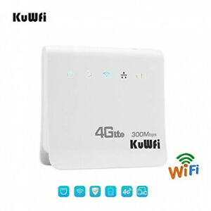 KuWFi WLAN Router, Unlocked 300Mbps 4G LTE CPE Mobile WiFi Wireless Router for S