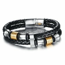 Mens Stainless Steel Braided Leather Bracelet Cuff Bracelet Magnetic Clasp 8""