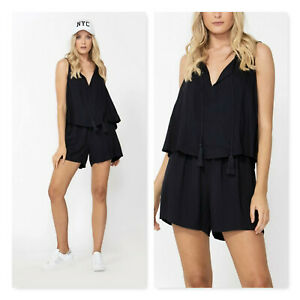 DECJUBA Womens Size L or 14 French Navy Tilly Layered Playsuit