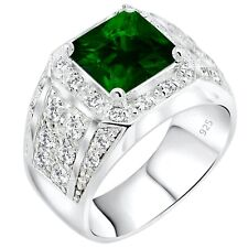 Men's Real Sterling Silver .925 Green Syn Emerald CZ Ring Sizes 6-14 w/Gift Box