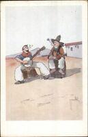 Cowboys Smoking and Playing Banjo c1915 Postcard