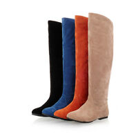 Plus Size Womens Flats 4 Colors Knee High Pull On Cowboy Faux Suede Riding Boots