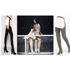 JUSTYOUROUTFIT Rihanna FAUX SUEDE RUCHED THIGH HIGH BELTED BOOTS