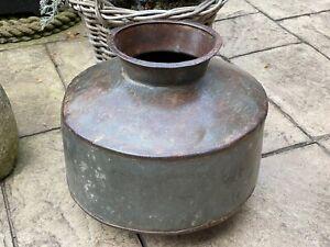 Indian Large Steel Metal Riveted Lota Water Pot Bowl Hand Beaten Garden Planter