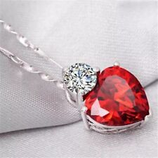 Red Heart Pendants Necklaces Women's Necklace Crystal Jewelry Gifts Silver...