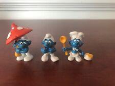Vintage Schleich Peyo Germany Smurf Lot Chef Backpack Mushroom Umbrella Figures