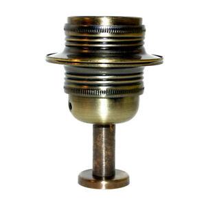 Brushed Antique Finish Steel ES (E27) Shade Ring Lampholder c/w Pedestal Mount