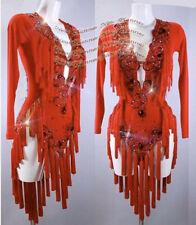 L2013 Cocktail Latin/ Rhythm Salsa Competition dance dress uk 12 US 10 red