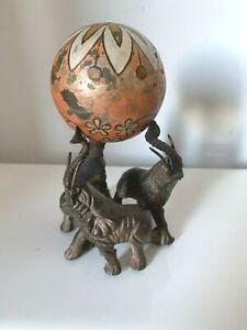 CIRCUS Elephants Orange Flower Decorated Ball, Vintage Decor 3 Elephants, BIN